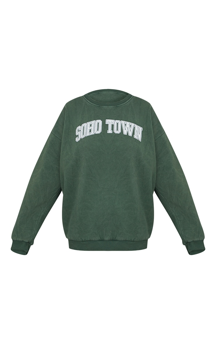 Green Washed Soho Town Printed Sweater 5