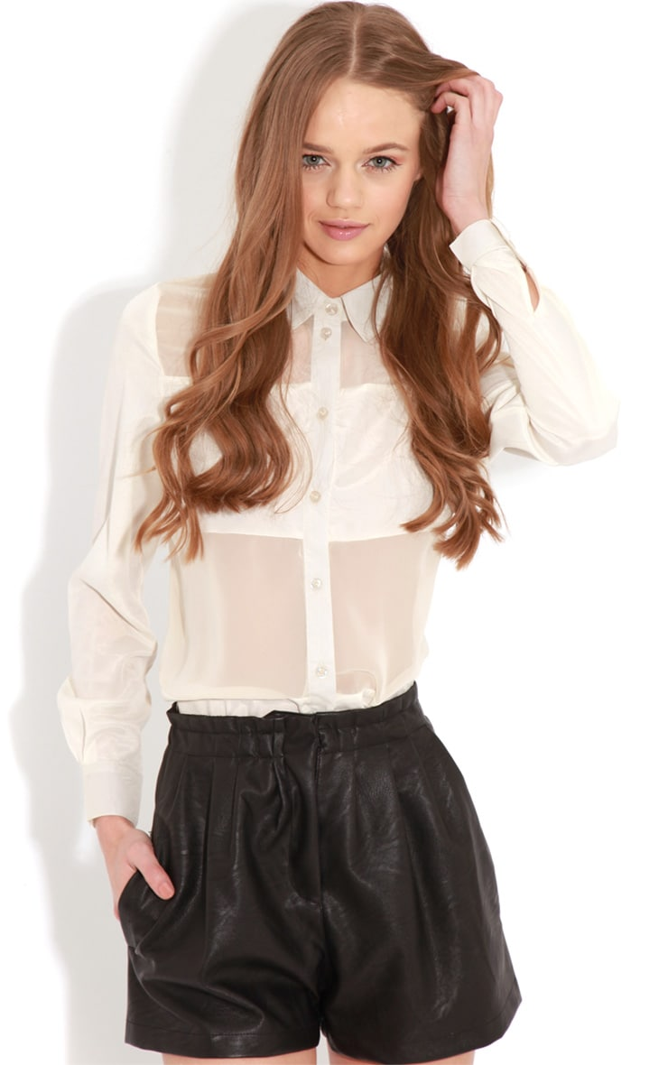 Helena Cream Mesh Panel Blouse   2