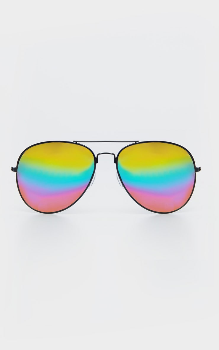 Black Multi Rainbow Effect Revo Lens Aviator Sunglasses  2