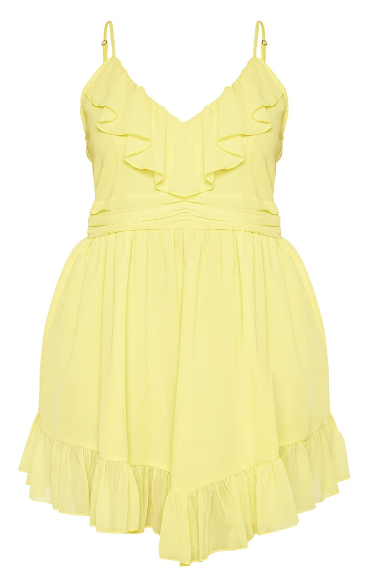 Plus Bright Yellow Strappy Frill Detail Skater Dress 3