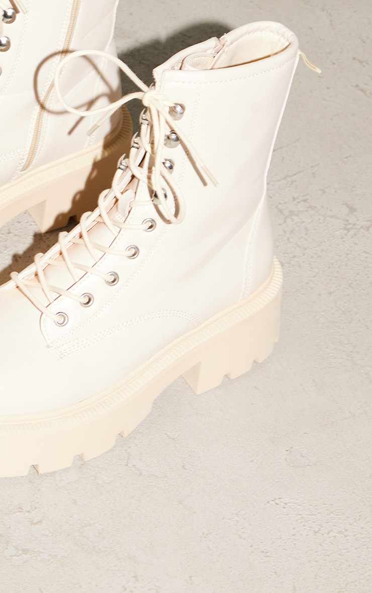Beige Chunky Lace Up Hiker Biker Boots 4