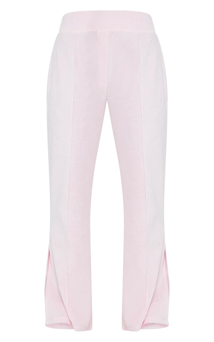 Petite Baby Pink Velour Seam Detail Wide Leg Joggers 5