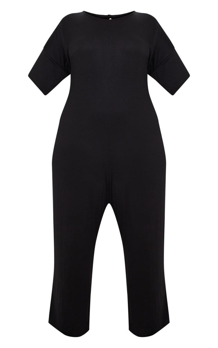 Plus Black Oversized T Shirt Culotte Jumpsuit 3
