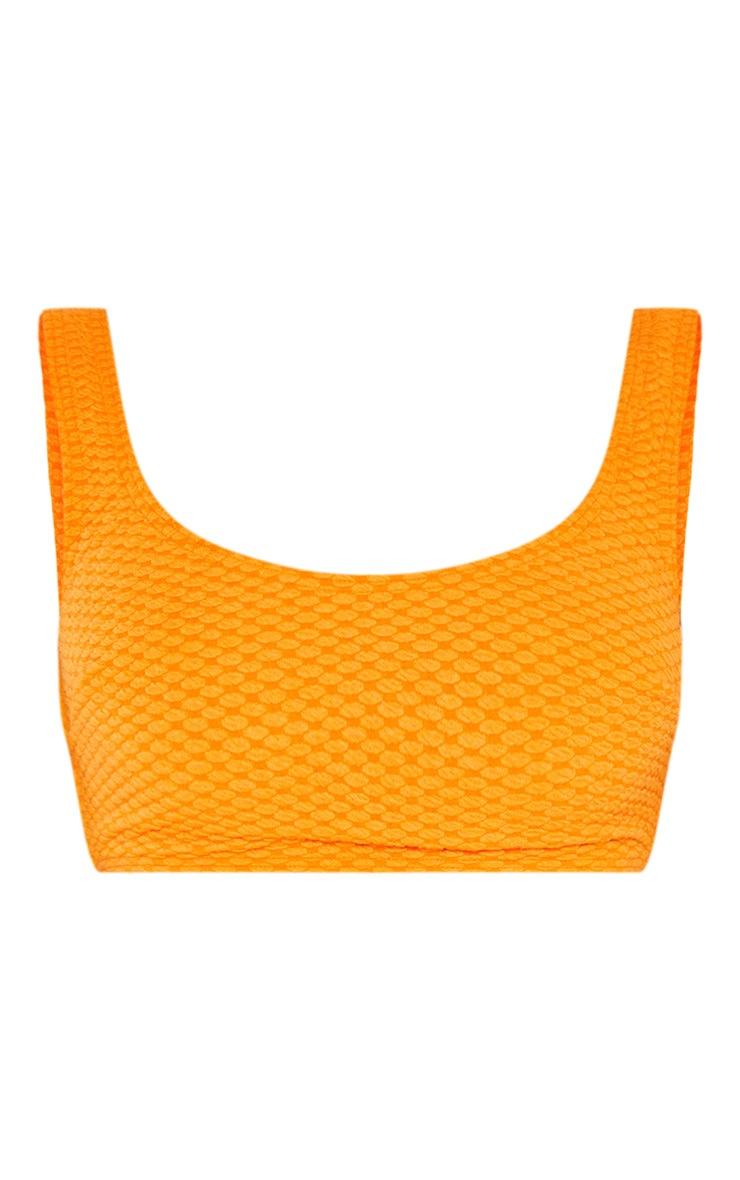 Orange Bubble Textured Scoop Neck Bikini Top 3