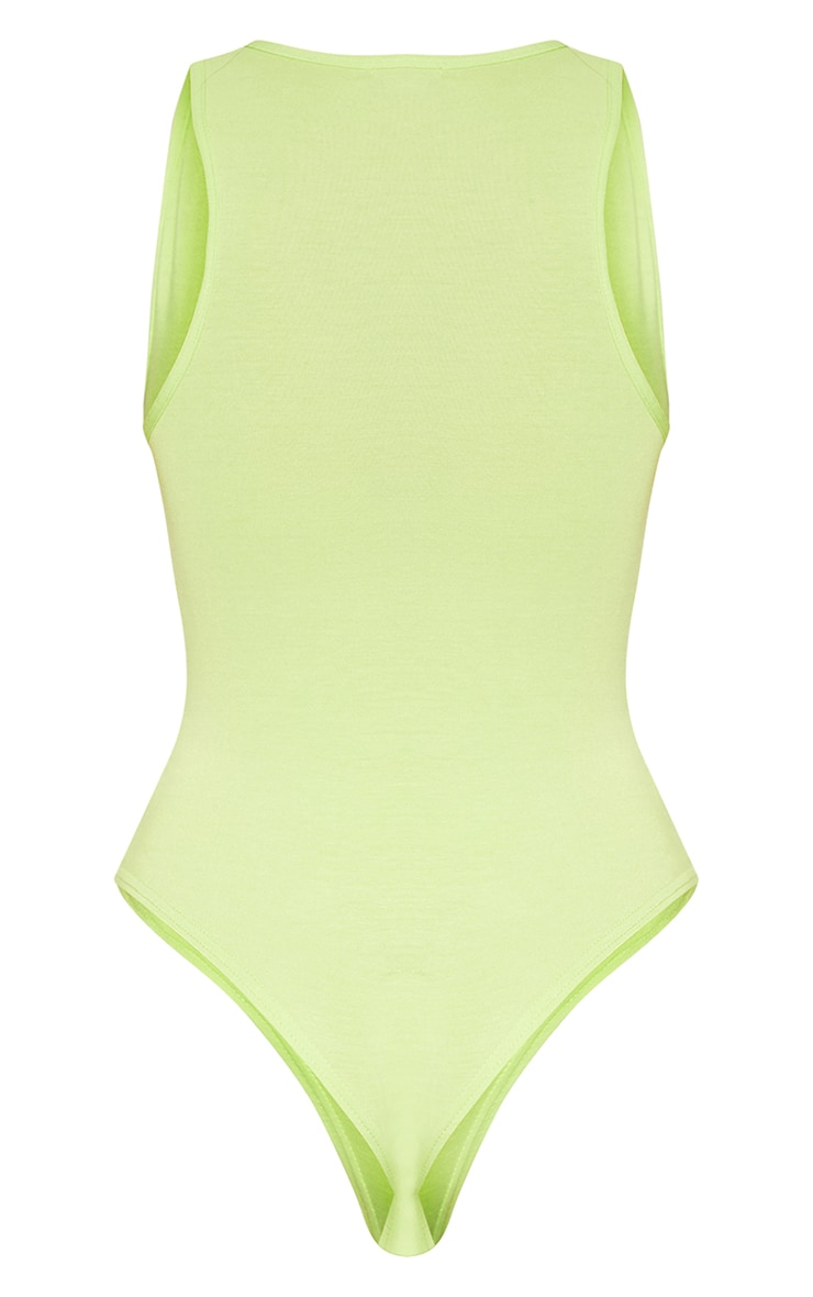 Basic Lime Jersey Plunge Neck Thong Bodysuit  4