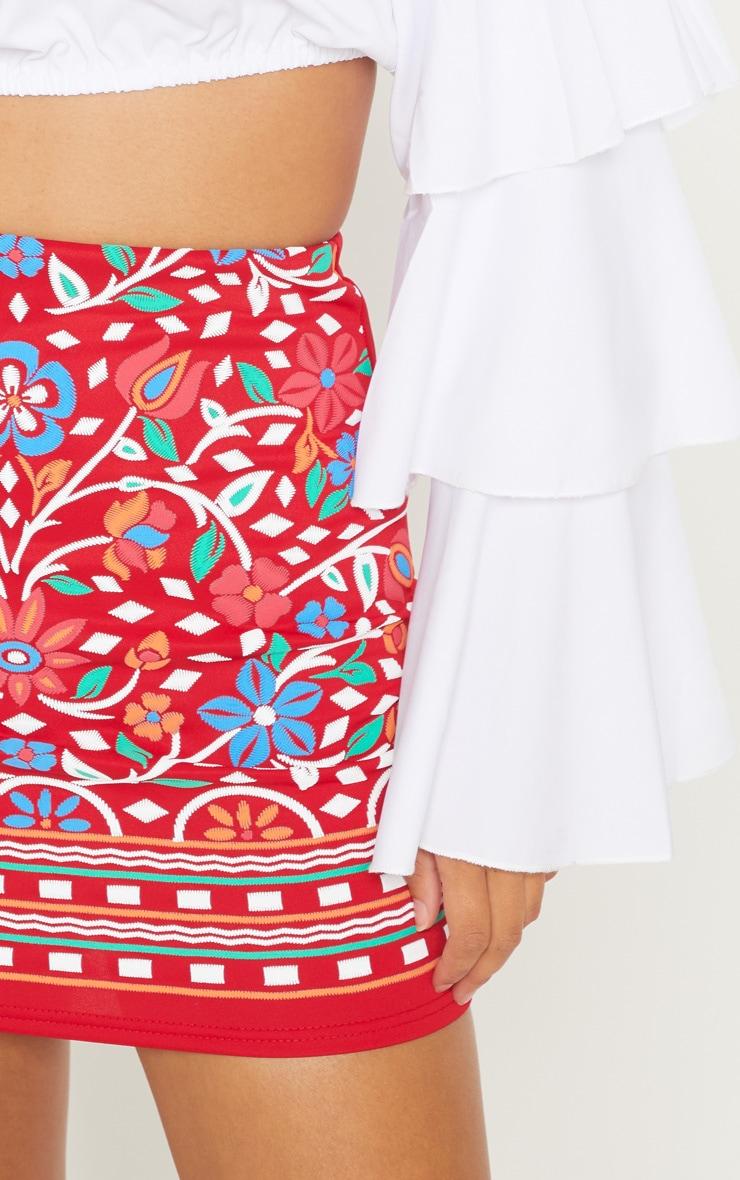 Red Puff Print Mini Skirt 6