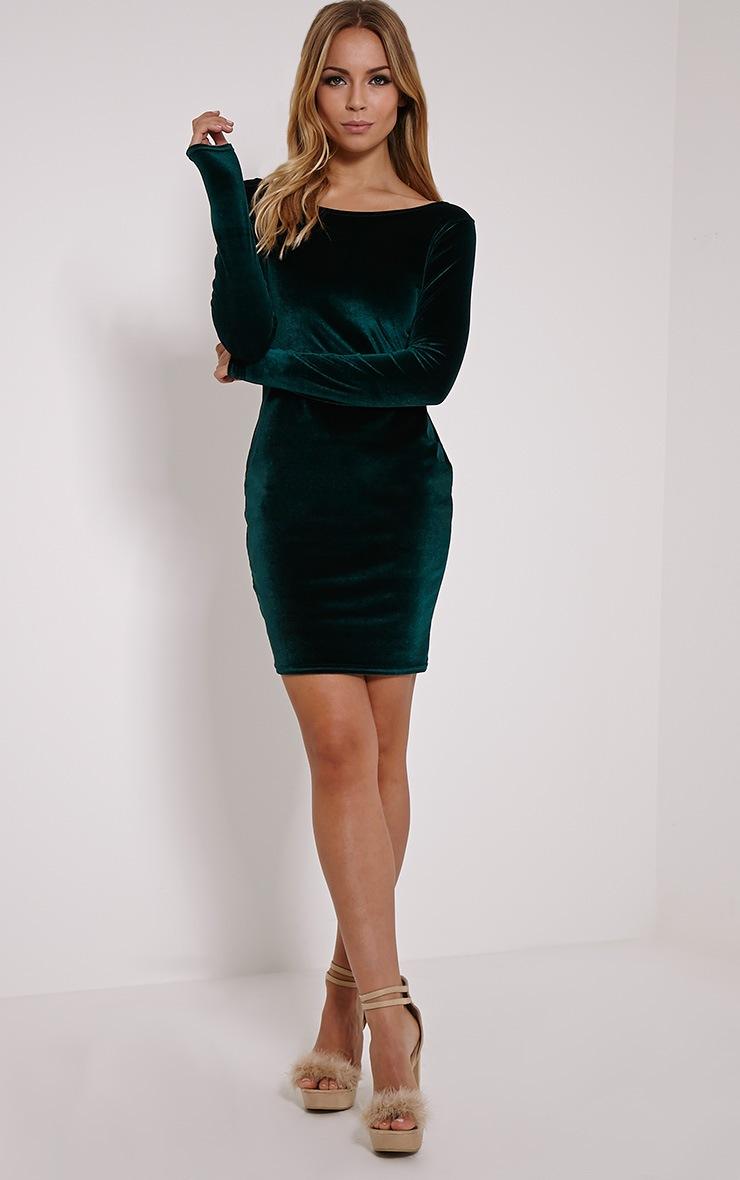 Bonny Bottle Green Round Neck Velvet Mini Dress 3