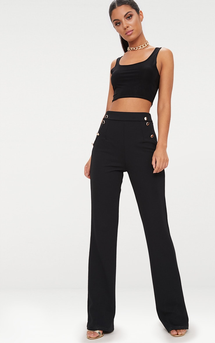 Black Scoop Neck Slinky Crop Top 4