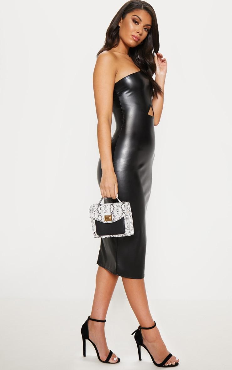 Black Faux Leather One Shoulder Cut Out Midi Dress 4