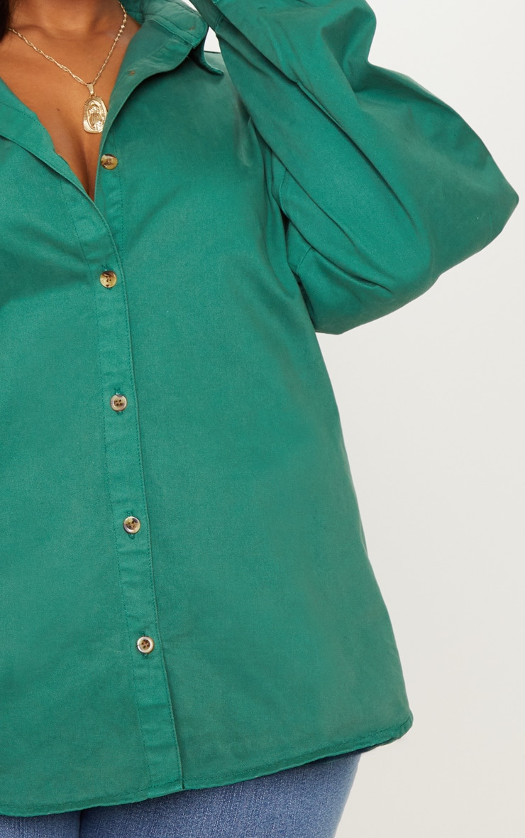 Plus Emerald Green Denim Tortoise Button Puff Sleeve Shirt 5