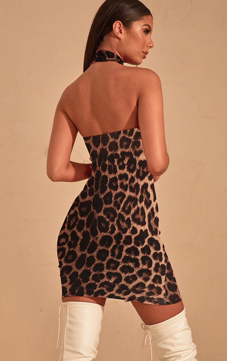Brown Leopard Print High Neck Split Detail Bodycon Dress 2