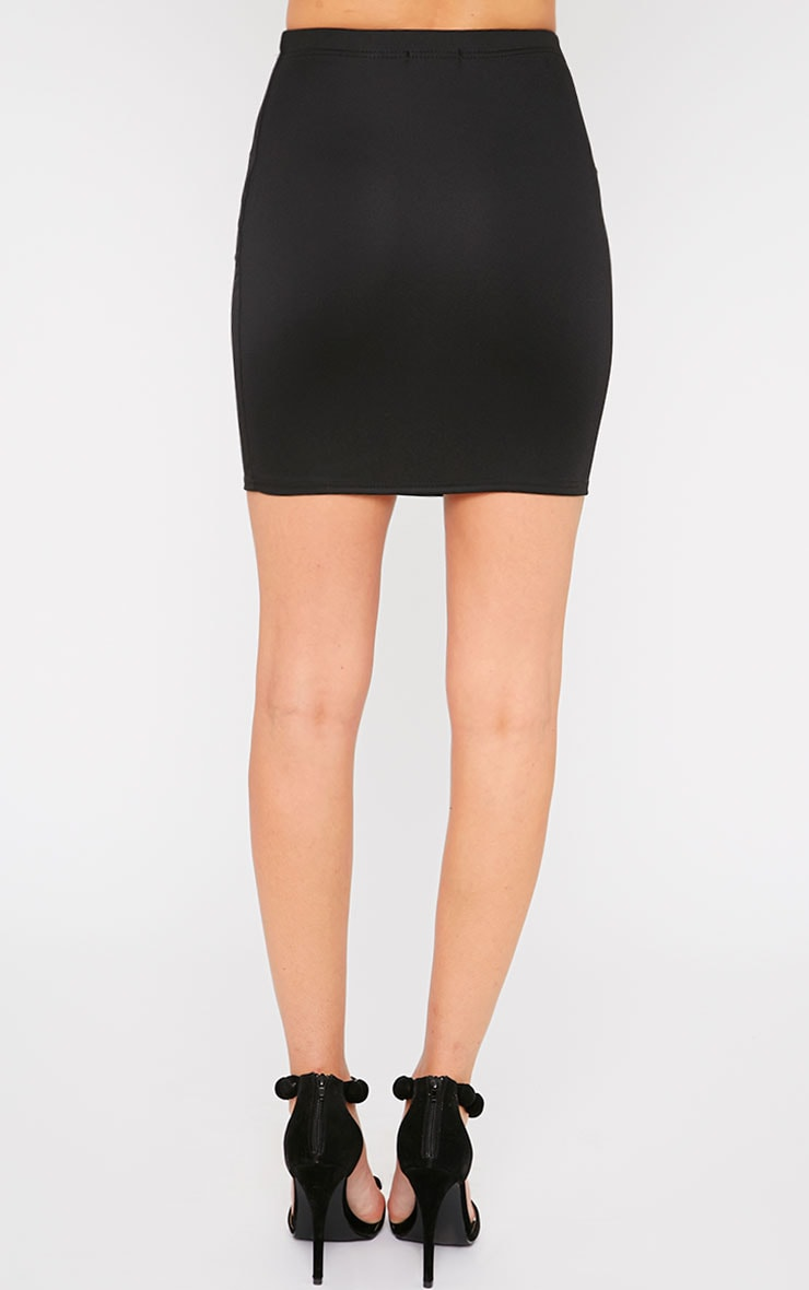 Emilia Black Crepe Mini Skirt 2
