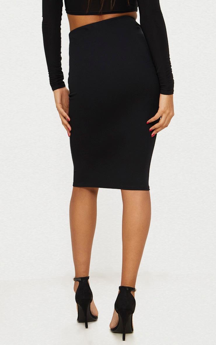 Black Knot Detail Midi Skirt  4