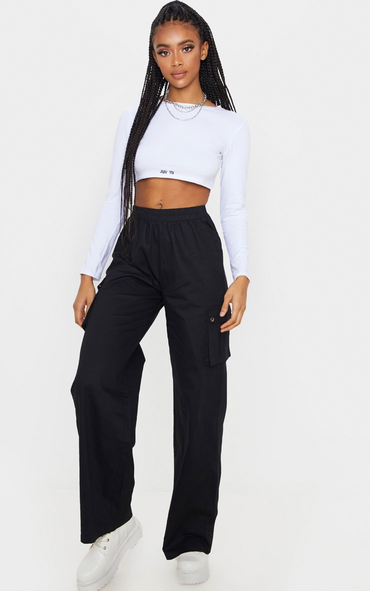 Black Wide Leg Cargo Trouser 1