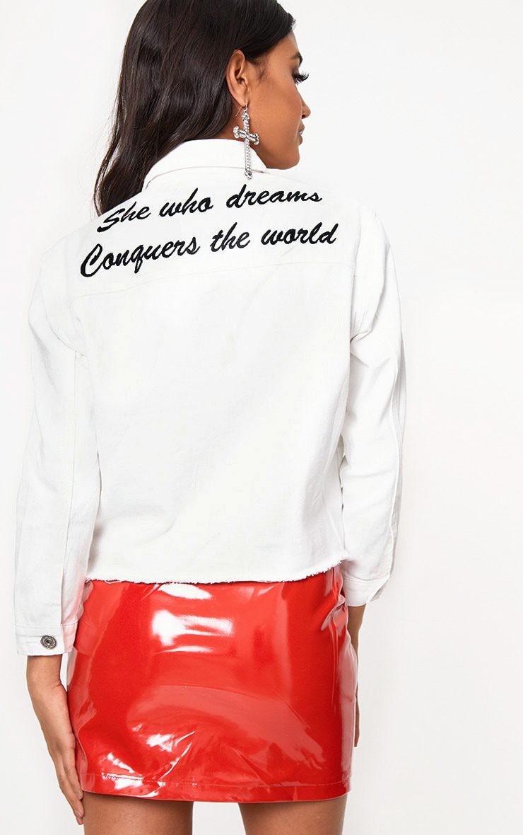 White She Who Dreams Slogan Denim Jacket 1