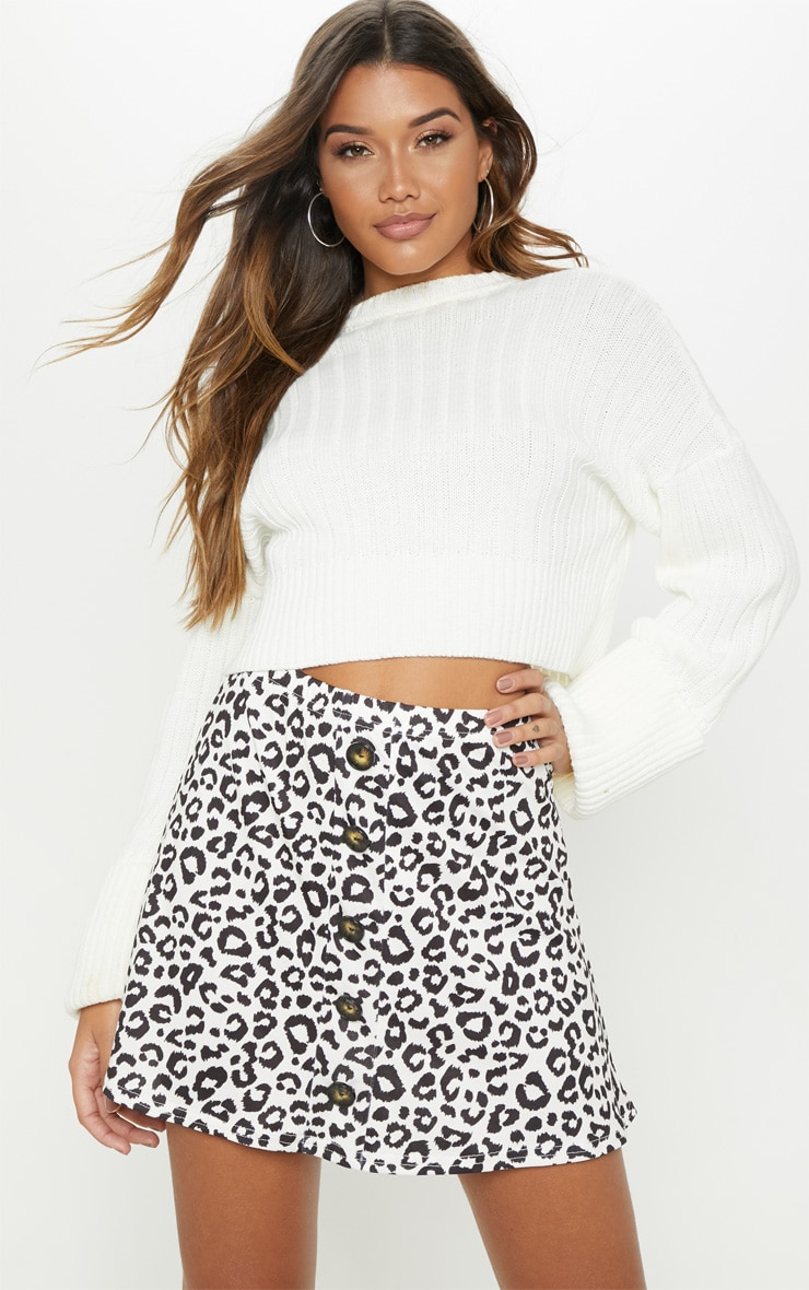 Leopard Print Printed Button Front A Line Skirt 1