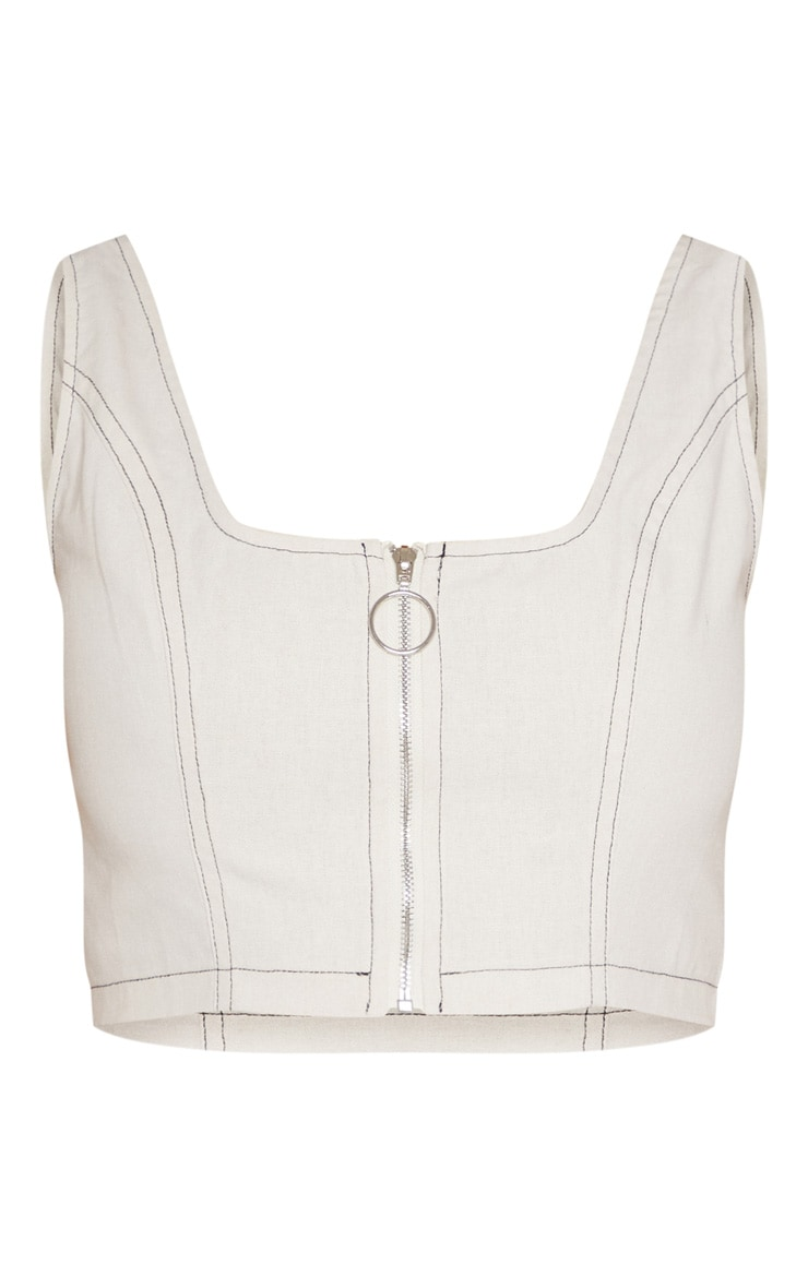 Cream Contrast Stitch Zip Up Crop Top 3