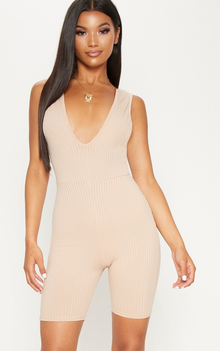 NUDE RIBBED PLUNGE SLEEVELESS UNITARD