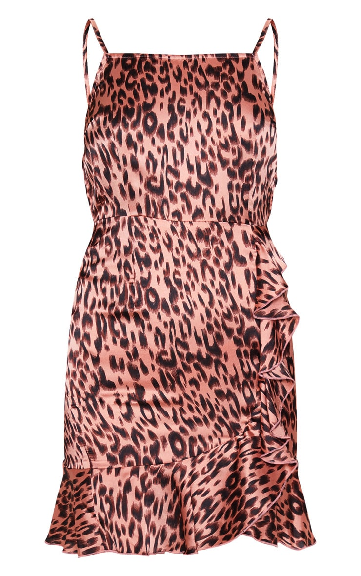 Nude Leopard Print Satin Frill Hem Dress 3
