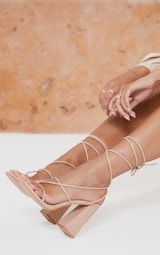 Nude Wide Fit PU Toe Detail Lace Up High Block Heeled Sandals 2