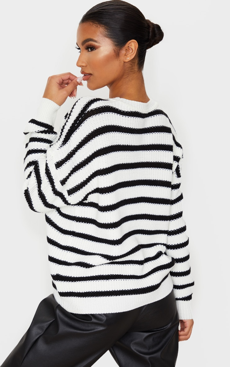Monochrome Pointelle Detail Stripe Knitted Sweater 3
