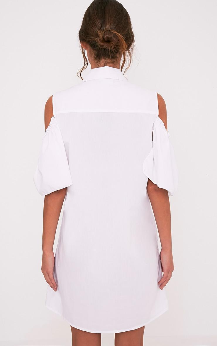 Ashlee White Cold Shoulder Frill Detail Shirt Dress 2