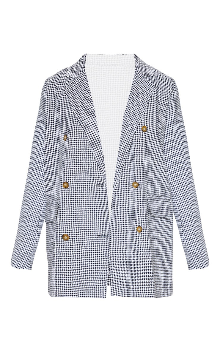 Black Check Print Woven Oversized Blazer 3