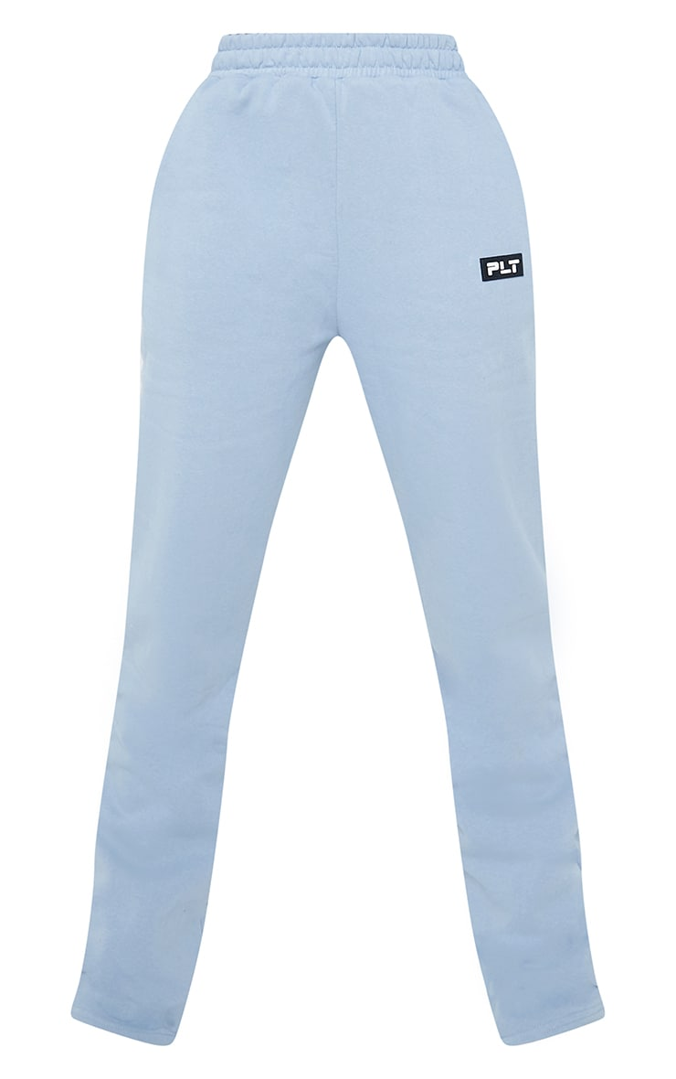 PRETTYLITTLETHING Tall Steel Blue Badge Detail Straight Leg Joggers 5
