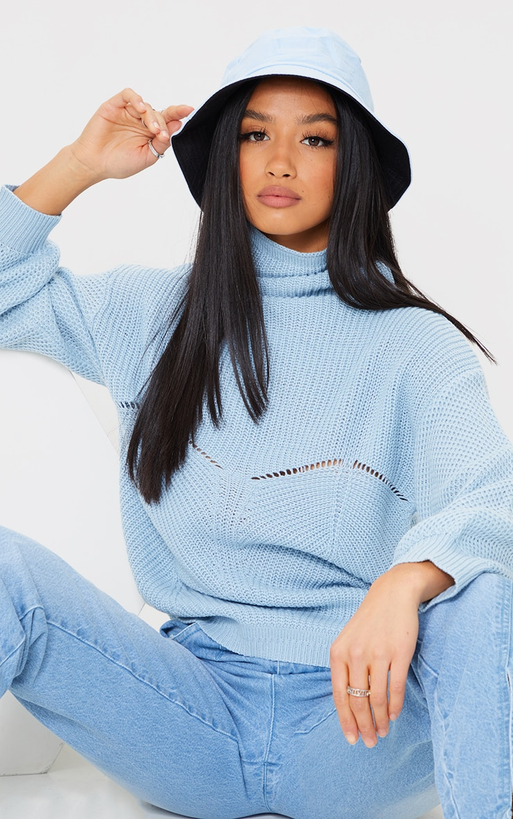 Petite Blue Pointelle Detail Knitted Sweater 1