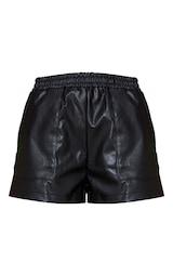 Black Faux Leather Runner Pocket Front  Shorts 6