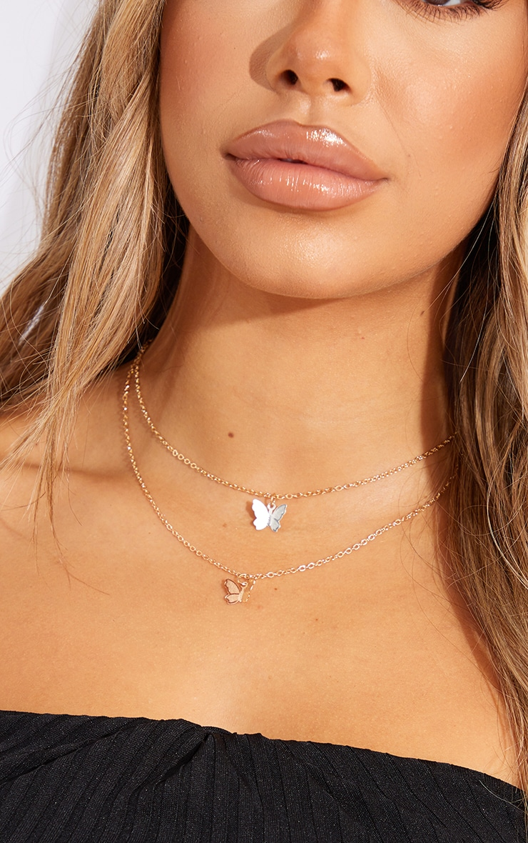 Gold Double Butterfly Chain Necklace 2