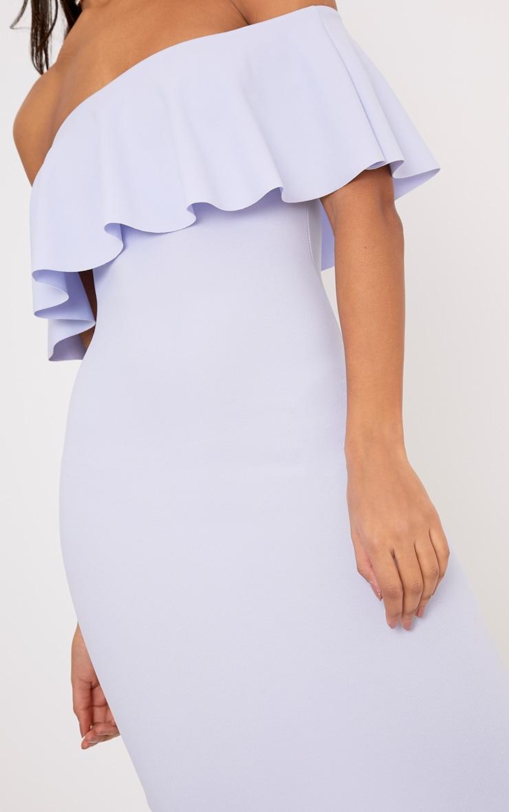 Celinea Dusty Blue Bardot Frill Midi Dress 5