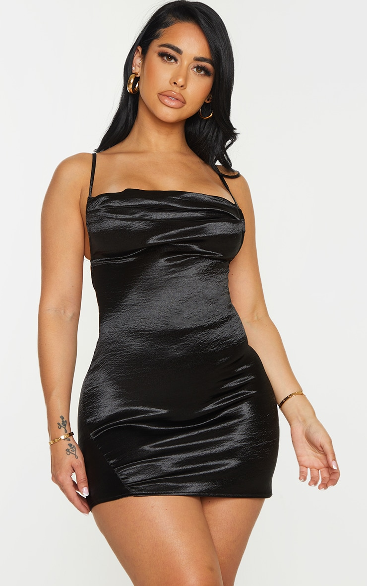 Shape Black Hammered Satin Cowl Ruched Bodycon Dress 1