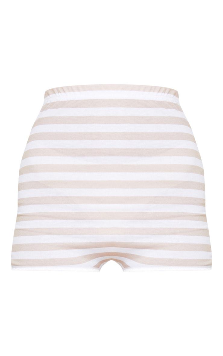 Stone High Waisted Stripe Hot Pant 3