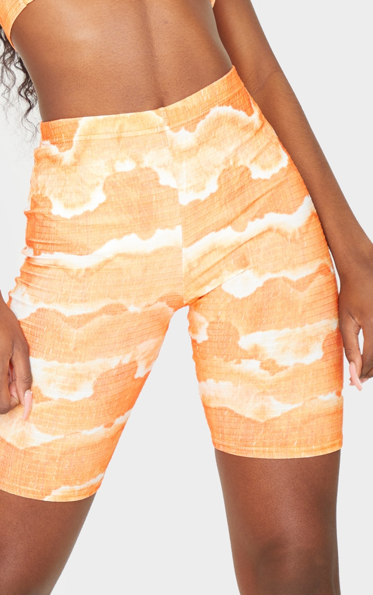 Tall Orange Tie Dye Cycle Crinkle Shorts 5