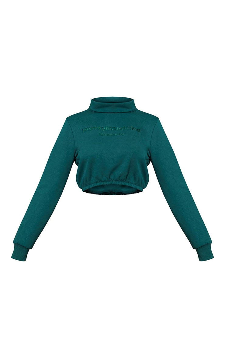 PRETTYLITTLETHING Emerald Embroided High Neck Cropped Sweatshirt 5