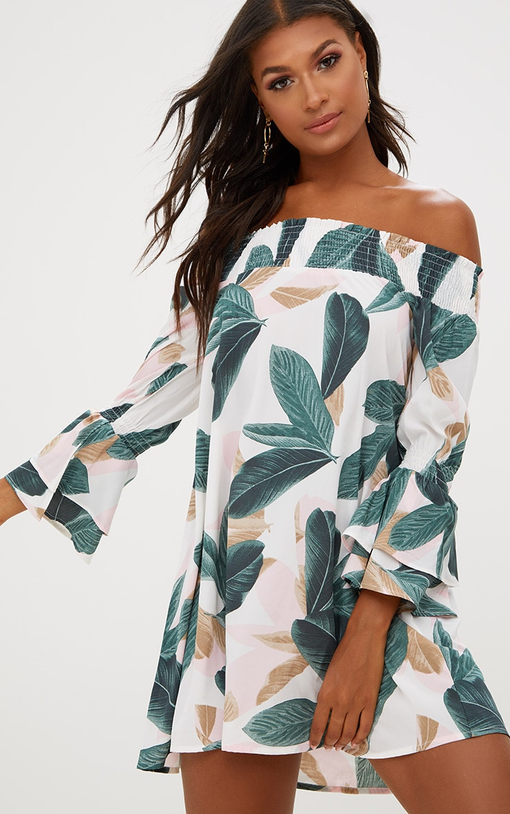 PRETTYLITTLETHING Leaf Print Bardot Puff Sleeve Shift Dress Footaction Online Factory Price EOclMa0