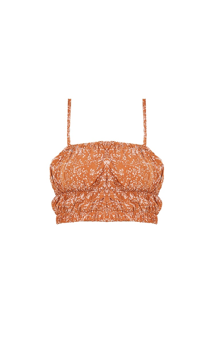 Brown Woven Floral Print Ruched Strappy Crop Top 5