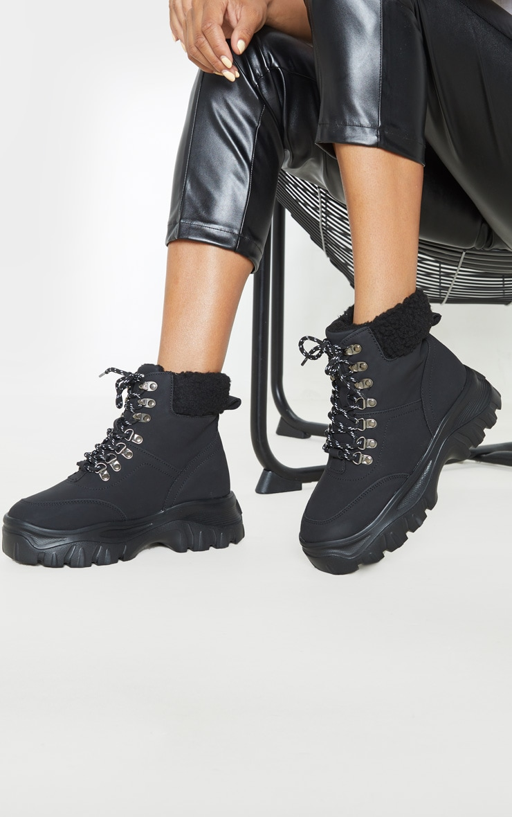Black Faux Fur Detail Chunky Hiker Boot 1