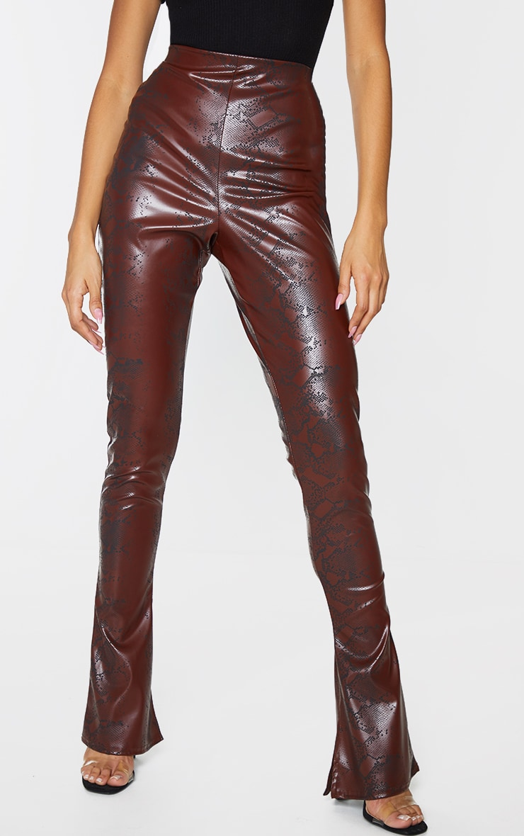 Chocolate Snake Faux Leather Kick Flare Skinny Trousers 2
