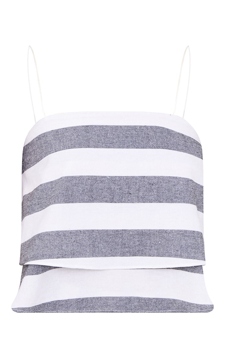 Grey Bold Stripe Beach Crop Top  3