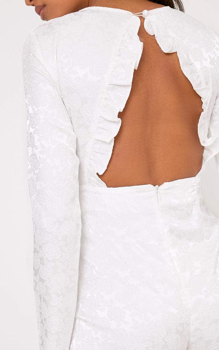 Lateysha White Embroidery Ruffle Open Back Playsuit 5