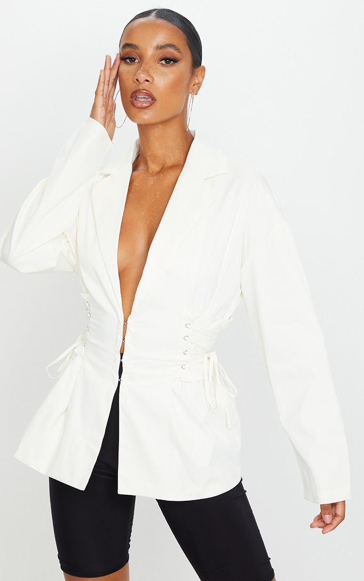 Cream Side Corset Detail Blazer 1