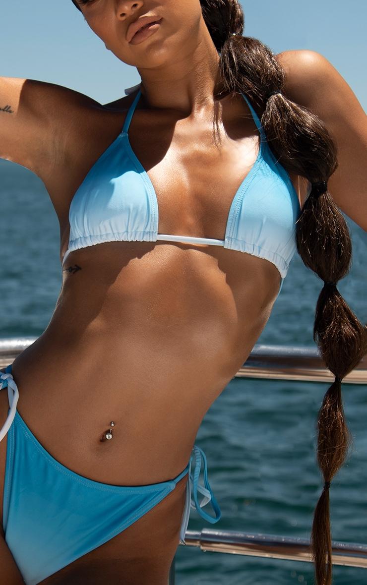 Blue Ombre Padded Triangle Bikini Top 4