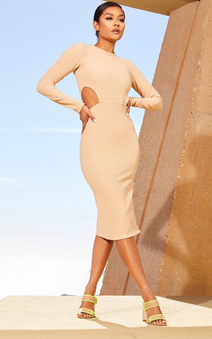 Nude Second Skin Cut Out Side Midi Dress 1