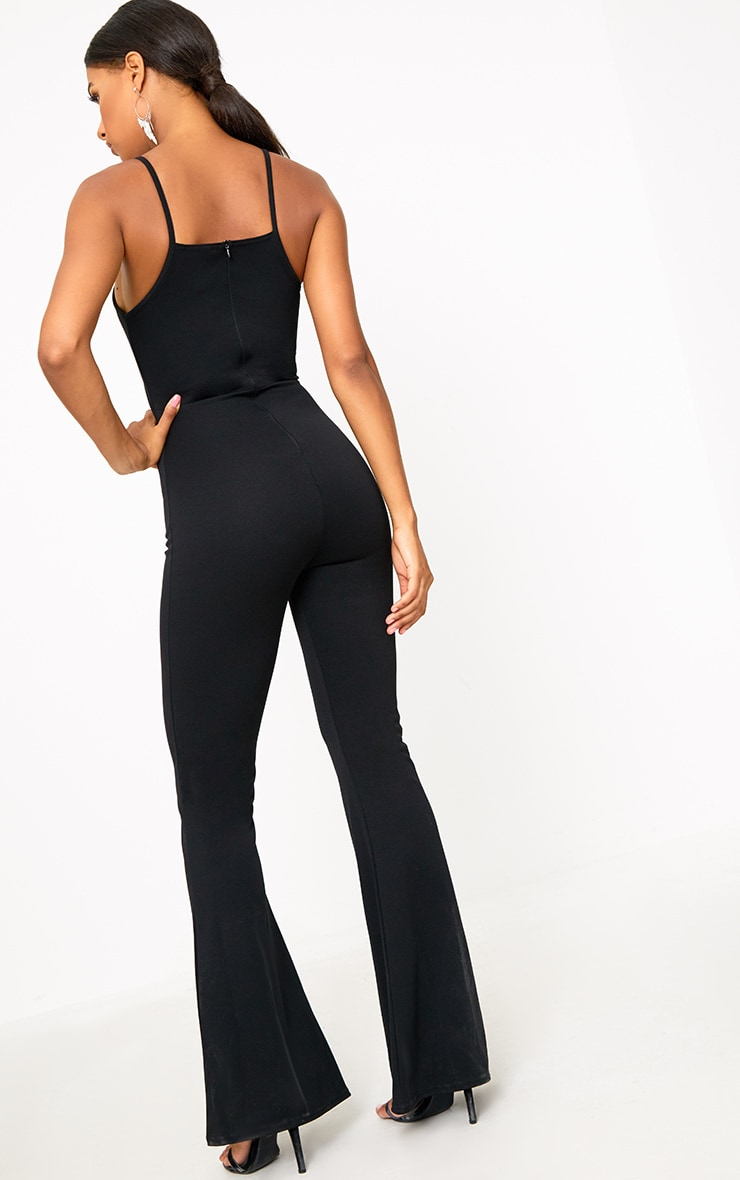 Black Open Middle Wide Leg Jumpsuit 2