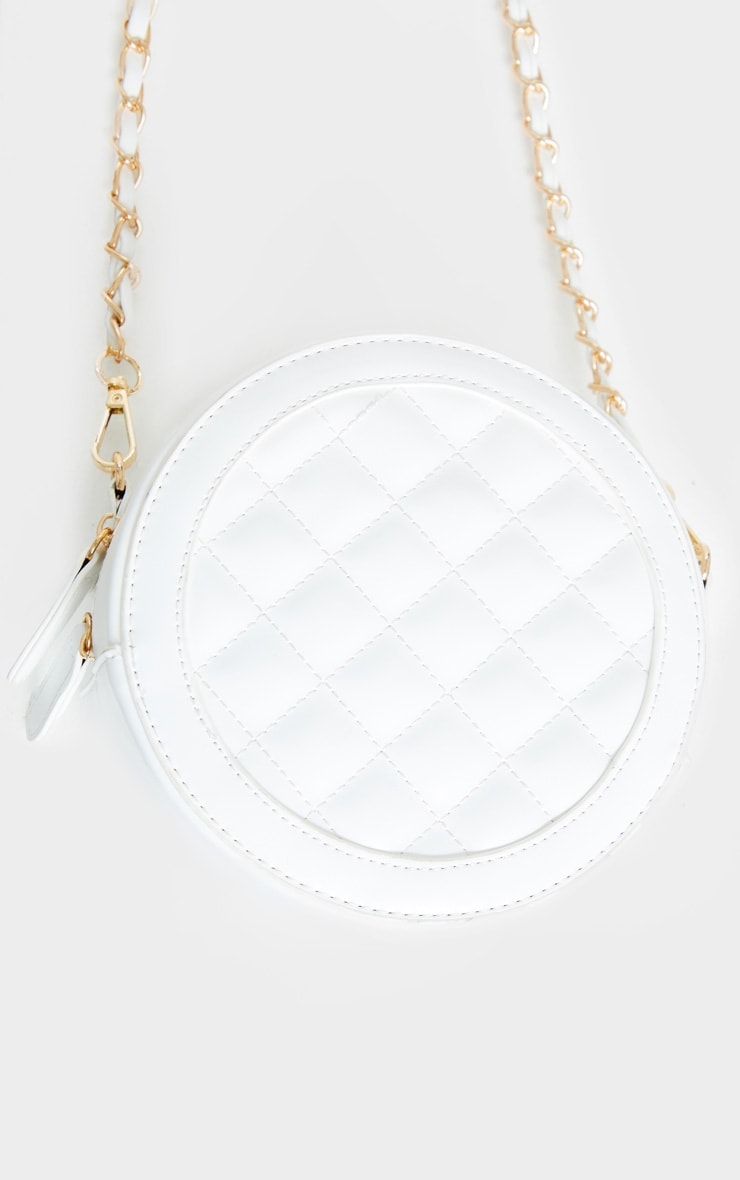 White Quilted PU Circle Cross Body Bag 2