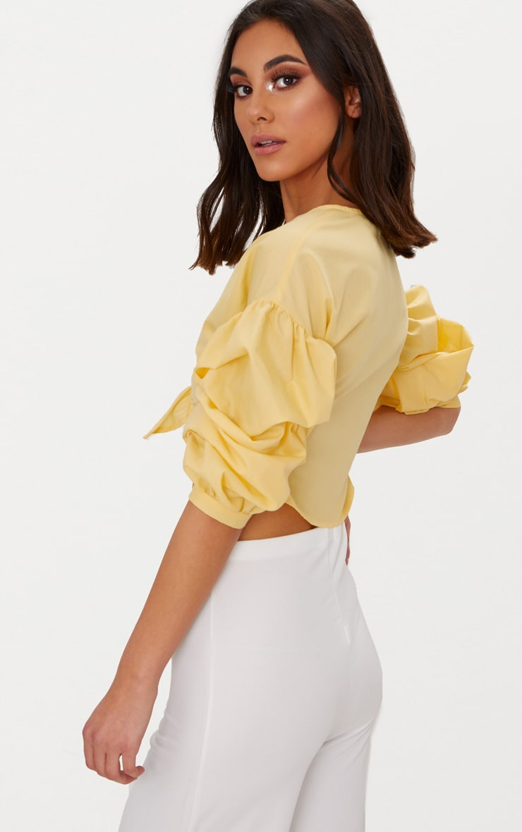 Yellow Woven Knot Front Puff Sleeve Crop Top  2
