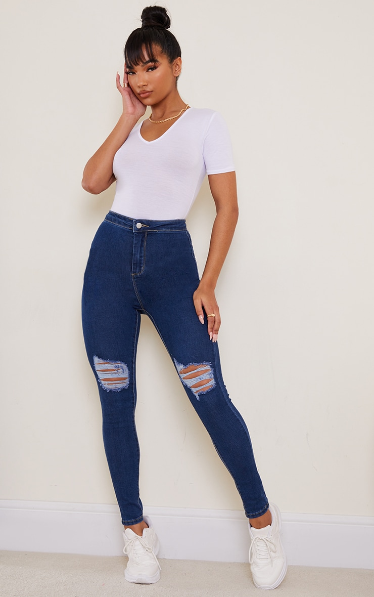 PRETTYLITTLETHING Mid Blue Knee Rip Disco Skinny Jean 1