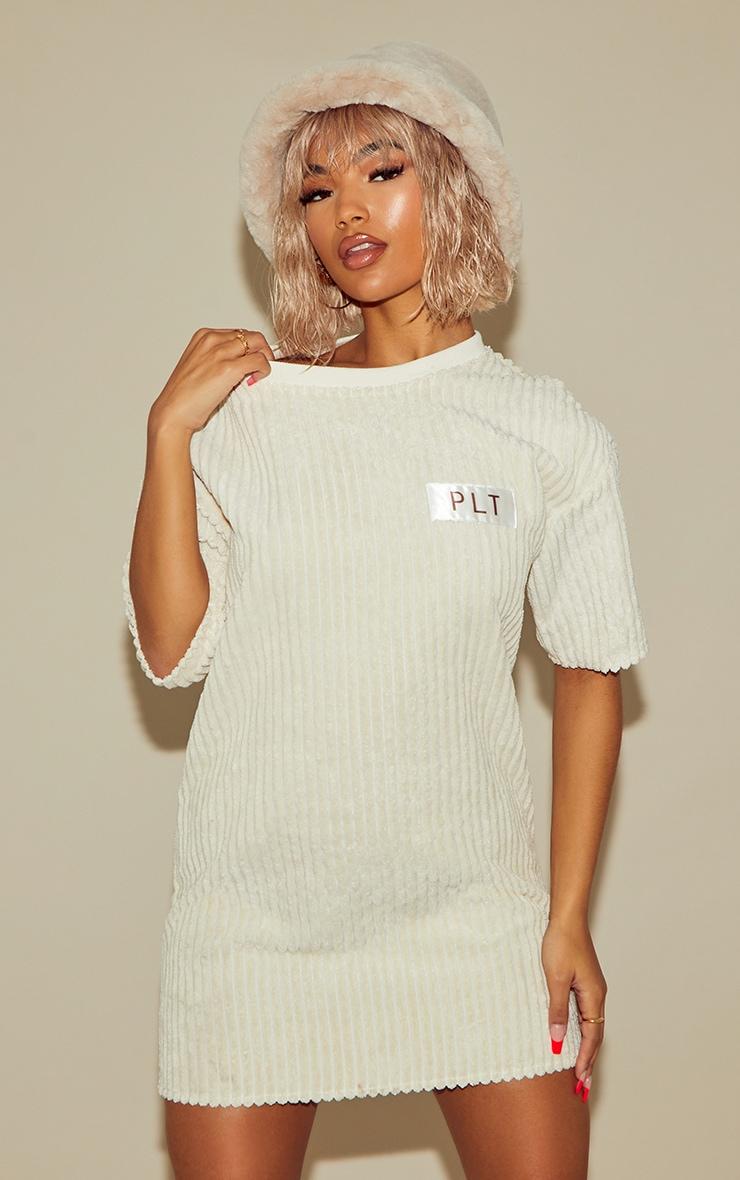 PRETTYLITTLETHING Cream Thick Cord T Shirt Dress 1